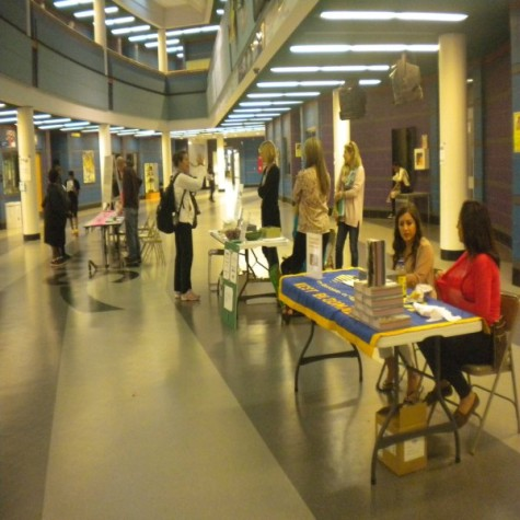 Clubs and students set up tables to either spread information or sell things such as senior t-shirts.