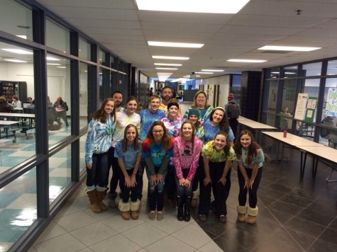 Students from the winning lunch table pose with WBHS administration outside of the cafeteria.