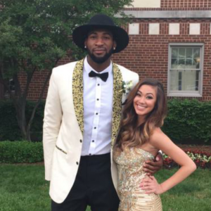 Raquel Smith with her prom date, NBA basketball player Andre Drummond