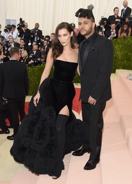 NEW YORK, NY - MAY 02:  Bella Hadid (L) and The Weeknd attend the Manus x Machina: Fashion In An Age Of Technology Costume Institute Gala at Metropolitan Museum of Art on May 2, 2016 in New York City.  (Photo by Jamie McCarthy/FilmMagic)