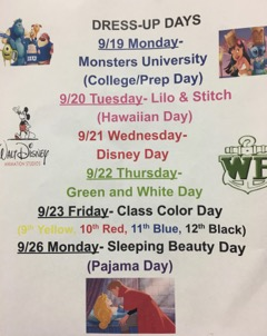 Spirit Days for the Week