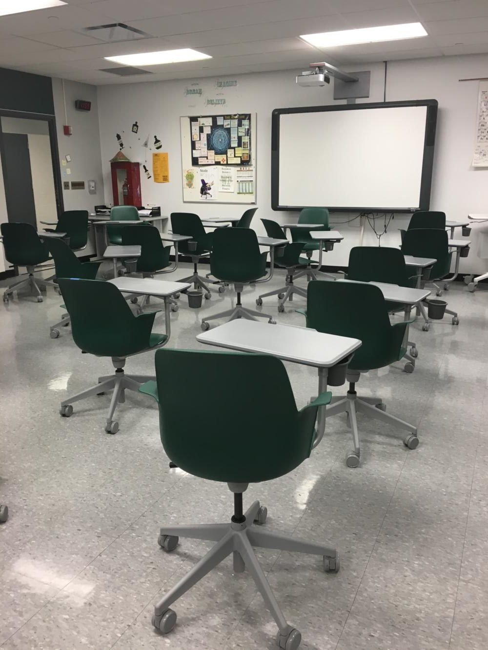 The new flexible furniture of Mrs. Ismail's classroom.