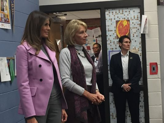 First Lady Melania Trump and U.S. Secretary of Education Betsy DeVos visited Orchard Lake Middle School Monday morning to talk about bullying and inclusion. Photo courtesy Lori Higgins of the Detroit Free Press