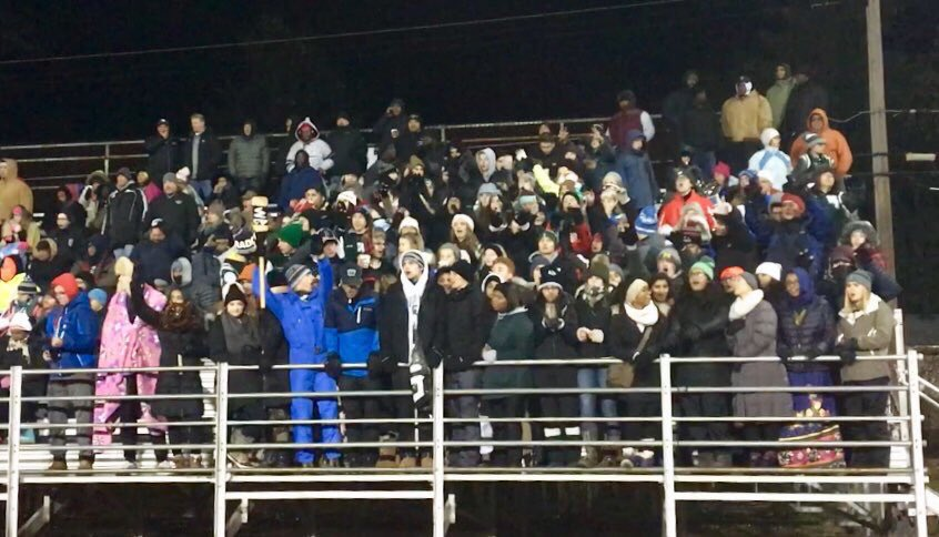 The Swamp student section at the game against Utica Eisenhower on November, 10.  Photo courtesy of Ashleigh Larkin on Twitter.
