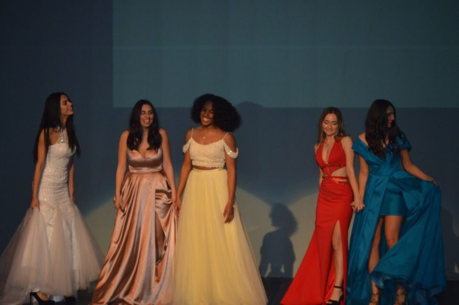 Fashion+students+modeling+prom+dresses+from+Hermz+Boutique.+