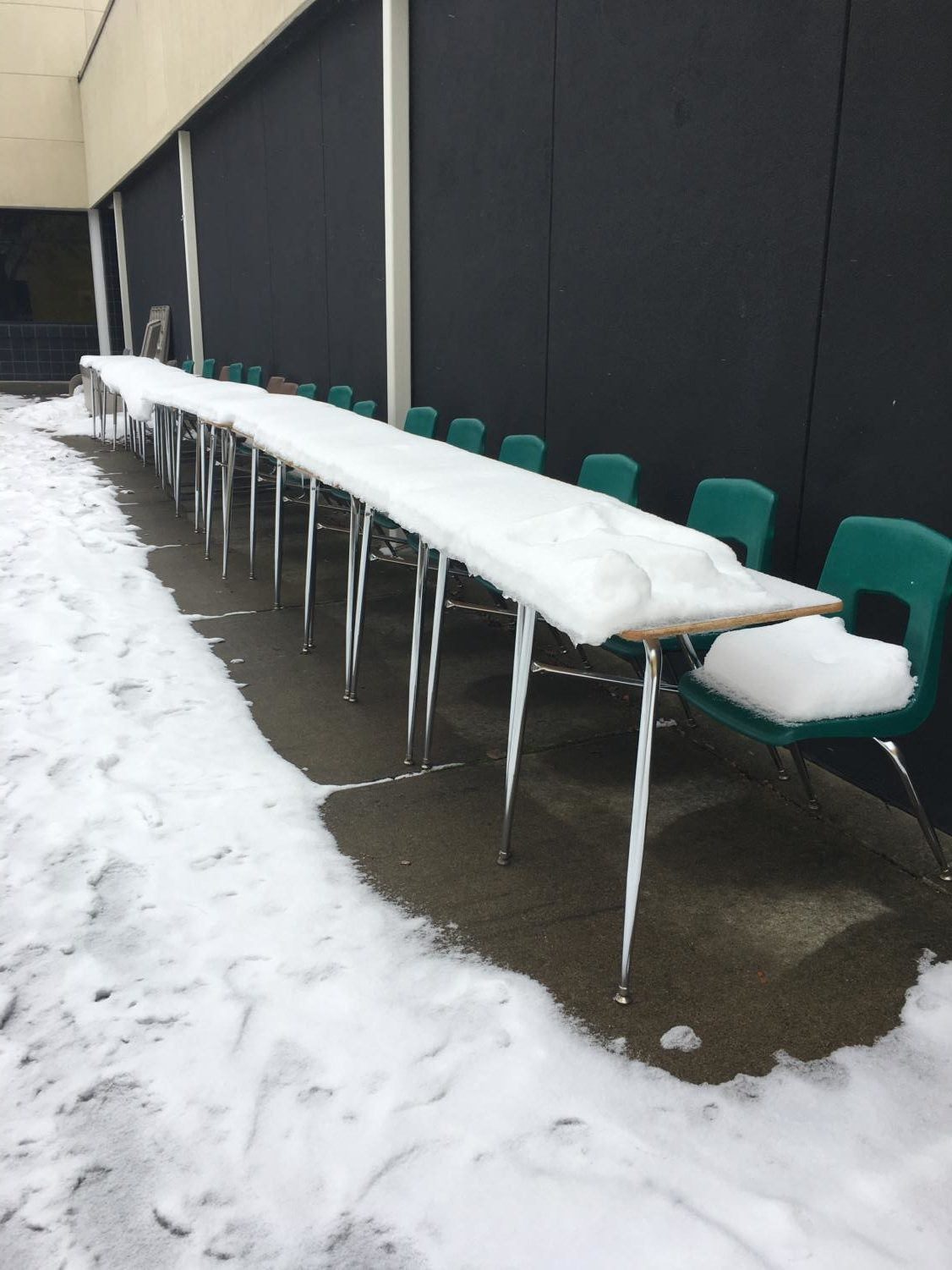 These 17 desks were lined up in the courtyard by Marissa Stone, senior, as a way to honor to the lives lost during the Parkland, FL shooting.