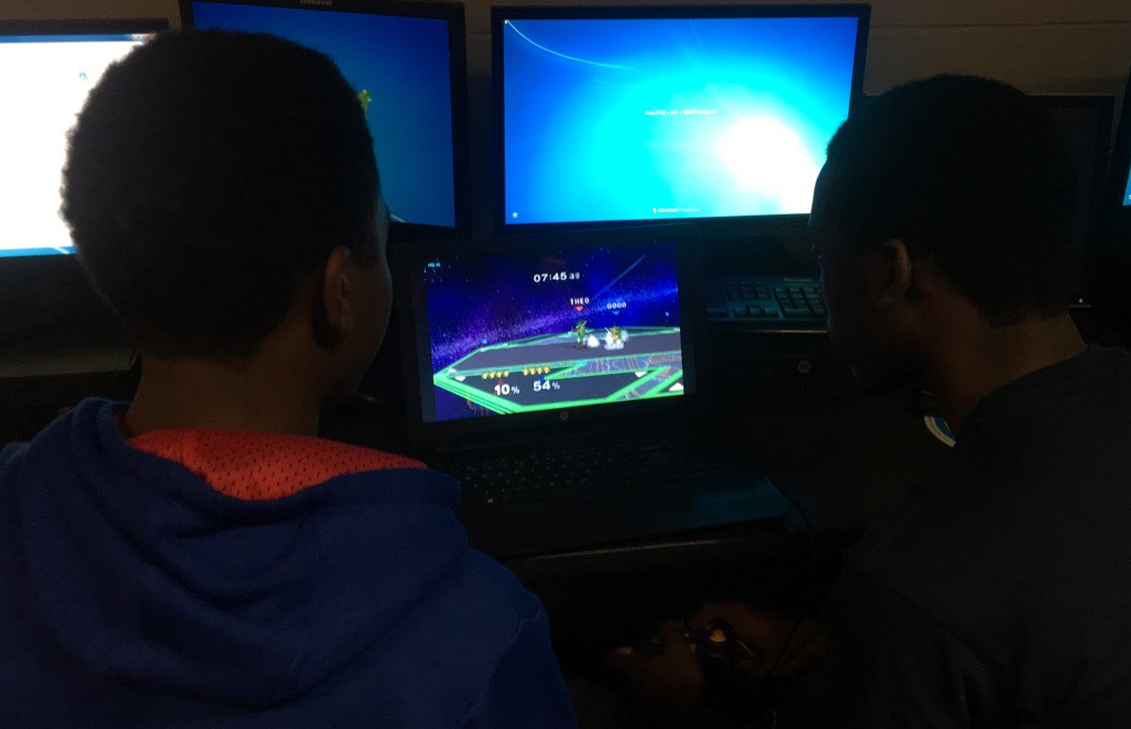 Members of the Video Game Club playing some video games.