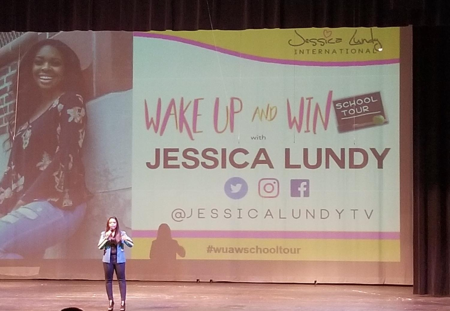 Jessica Lundy presenting to WBHS students.